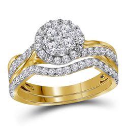 Round Diamond Bridal Wedding Ring Band Set 1 Cttw 14kt Yellow Gold - REF-68K5Y
