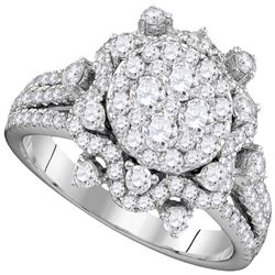 Round Diamond Cluster Bridal Wedding Engagement Ring 1-5/8 Cttw 14kt White Gold - REF-142N9F