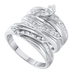 His Hers Marquise Diamond Solitaire Matching Wedding Set 1/3 Cttw 10kt White Gold - REF-38M9H