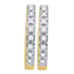 Womens Round Diamond Single Row Hoop Earrings 1/8 Cttw 10kt Yellow Gold - REF-9R5X