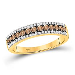Brown White Diamond Pave-set Womens Band Ring 1/2 Cttw 14k Yellow Gold - REF-31A5M
