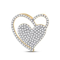 Womens Round Diamond Heart Pendant 3/8 Cttw 10kt Yellow Gold - REF-19A5M