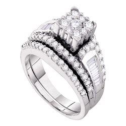 Round Diamond Bridal Wedding Ring Band Set 1-1/2 Cttw 14kt White Gold - REF-101M5H