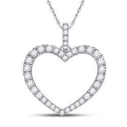 Womens Round Diamond Outline Heart Pendant 1/2 Cttw 14kt White Gold - REF-27X9A