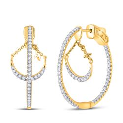 Womens Round Diamond Dangle Hoop Earrings 1 Cttw 14kt Yellow Gold - REF-142K5Y