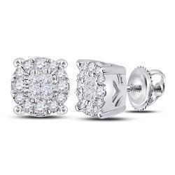 Womens Princess Diamond Fashion Cluster Earrings 1/4 Cttw 14kt White Gold - REF-24K5Y