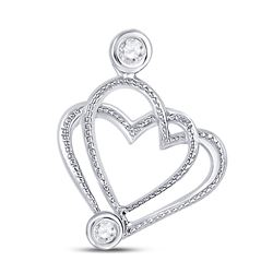 Womens Round Diamond Double Heart Pendant .03 Cttw 10kt White Gold - REF-5W5K