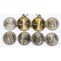 Group of (8) Coins 6x USA Presidential  Dollars Plus 2 - Empire State Building Medal  - Key Tag