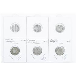 Lot (6) Canada Silver George V 10 Cents