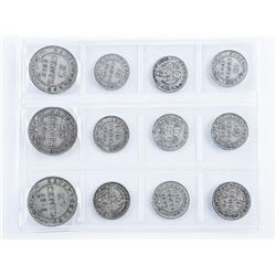 Group of (12) Silver NFLD Coins: 9 x 10cent  and 3 x 25 cent