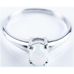 925 Silver Ring Oval Fiery Opal