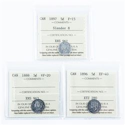 Group of (3) Canada Silver 5 cents: 1888,  1896, 1897. All ICCS Cert