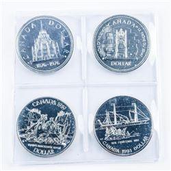 Lot (4) Canada Silver Dollars. BU-Proof