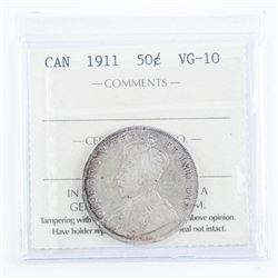 CANADA 1911 Silver 50 Cent VG-10 ICCS