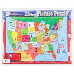 Picture Puzzle of North America 25pc Vintage