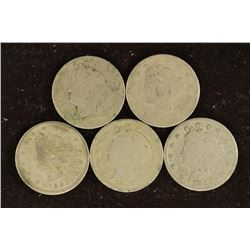 """5 ASSORTED 1800'S LIBERTY """"V"""" NICKELS"""
