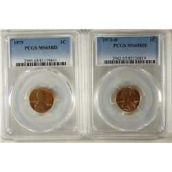 2-PCGS SLABBED LINCOLN CENTS 1973-D MS65RD AND