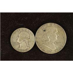 1952-D WASHINGTON SILVER QUARTER AND 1962-D