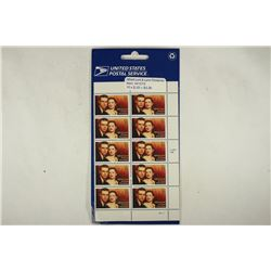 SHEET OF 10-33 CENT MINT UNUSED POSTAGE STAMPS