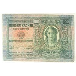 LARGE SIZE 1912-AUSTRIA 100 KRONEN
