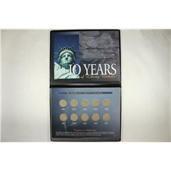 10 YEARS OF LIBERTY NICKELS 1902-1911 IN FOLIO