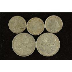 80 CENTS FACE VALUE CANADA SILVER COINS