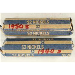 2-$2 ROLLS OF 1940'S & 1950'S JEFFERSON NICKELS