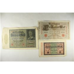 3 PIECES OF GERMAN CURRENCY 1910-1000 MARK,