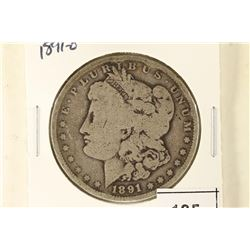 1891-O MORGAN SILVER DOLLAR WITH PAPER ETC... ON