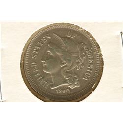 1866 THREE CENT PIECE (NICKEL) SLIGHT VIRDIGS AU