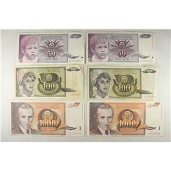 YUGOSLAVIA 2-1990-50 DINARA, 2-1991-100 DINARA AND