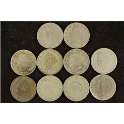 """10 ASSORTED 1897-1907 LIBERTY """"V"""" NICKELS ALL"""