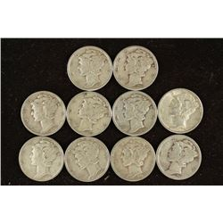 10 ASSORTED MERCURY DIMES 1-1937 AND THE REST ARE