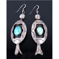 Navajo Old Pawn Royston Turquoise Blossom Earrings