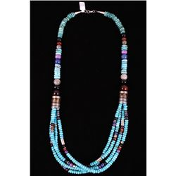 Navajo TR Singer Multi Strand Turquoise Necklace