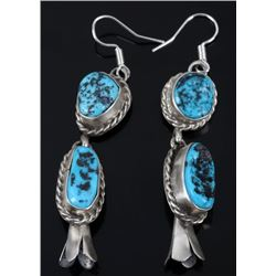 Navajo B. Lee Kingman Turquoise Blossom Earrings