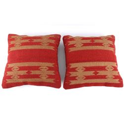 Tetro Red Churro Wool Set of Two Pillows by J.Ruiz