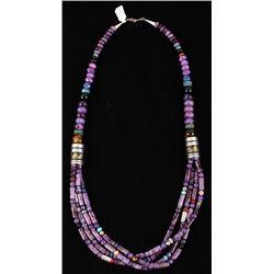 Navajo TR Singer Sugalite Multi Strand Necklace