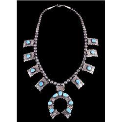Navajo Kingman Turquoise & Sterling Squash Blossom