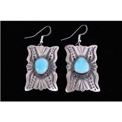 Navajo Sterling & Kingman Turquoise Earrings