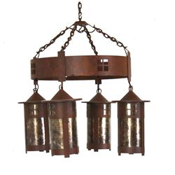 Rustic Four Light Hanging Lantern Chandelier