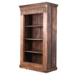 Scandinavian High Relief Carved Solid Wood Shelf