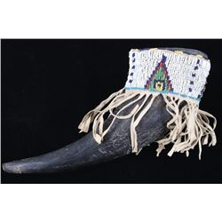 Sioux Beaded Hide Covered Buffalo Horn Cup 19th C.