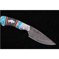 Navajo David Yellowhorse Turquoise Buffalo Knife