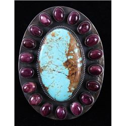 Navajo Kingman Turquoise, Purple Spiny Oyster Ring