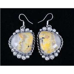 Navajo B. Lee Bumble Bee Jasper & Silver Earrings