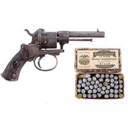 Engraved Belgian Pinfire 7mm Revolver c.1800's