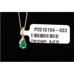Natural Emerald & Diamond 14K Necklace Pendant
