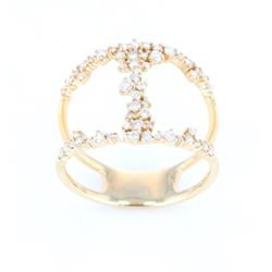 Modern Diamond Millennium Designer 14K Ring