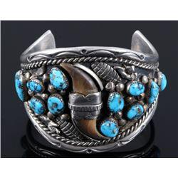 Navajo Kingman Turquoise & Bear Claw Bracelet